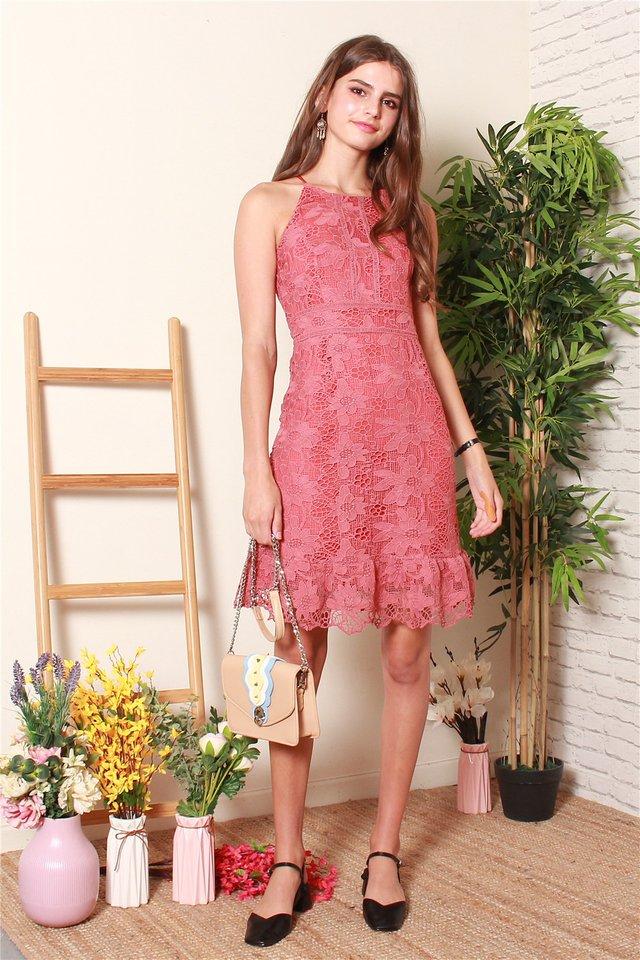 Floral Crochet Neckline Dress in Terracotta