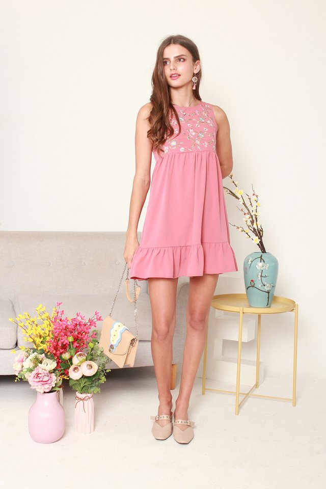 ACW Blossom Embroidery Dropwaist Babydoll Dress in Mauve