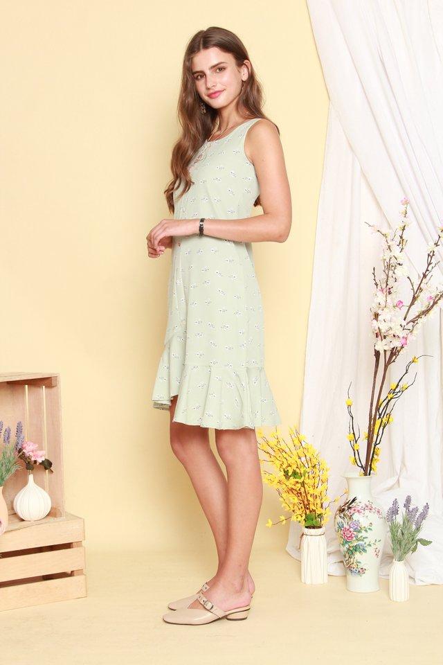Floral Asymmetrical Hem Midi Dress in Mint