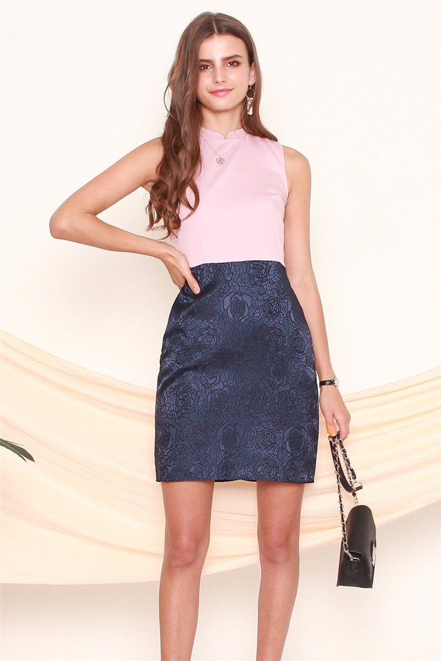 ACW Detachable Collar Tulip Brocade Dress in Navy-Pink
