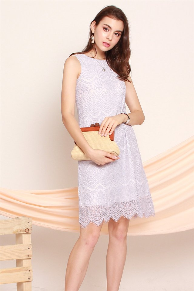 ACW Lace Trim Trapeze Dress  in Dusty Grey