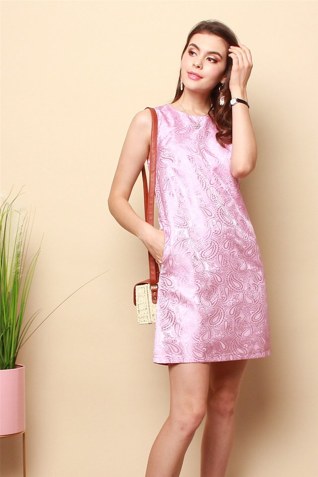 ACW Brocade Shift Dress in Pink