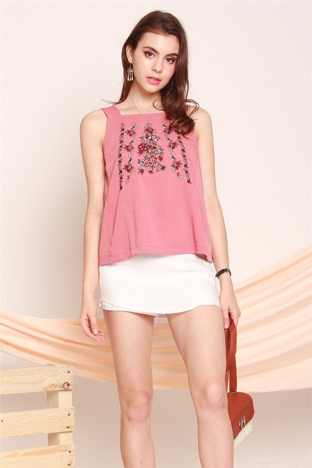 ACW Pink Embroidery Rose Cut In Top in Mauve