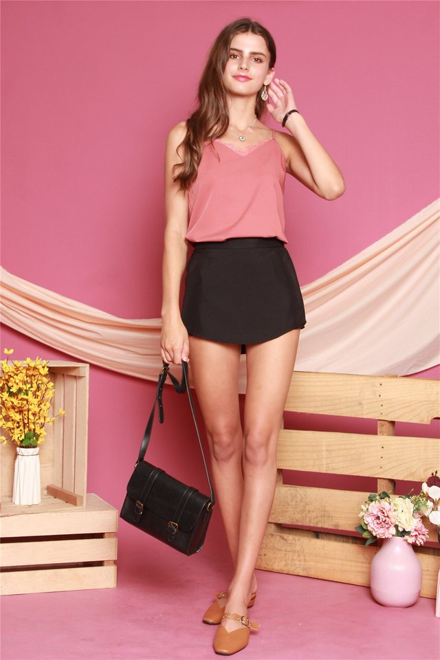 *Backorder 7* ACW Curved Polygon Skorts in Black