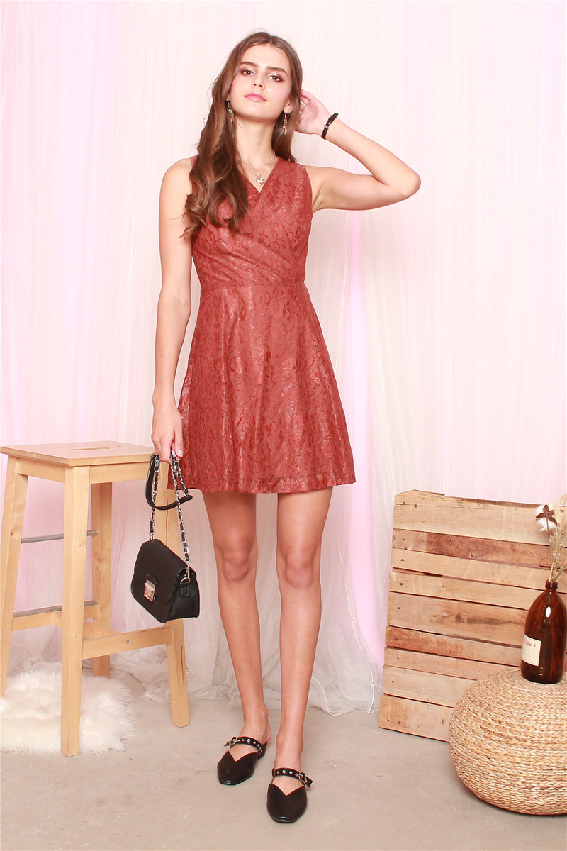 021da3561a10c ACW Lace Detail Swing Dress in Terracotta | Anticlockwise