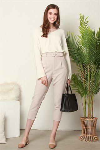 *BACK IN STOCK* Belted Pleat Pocket Work Pants in Khaki
