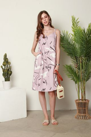 Abstract Cami Crossback Midi Dress in Dusty Pink