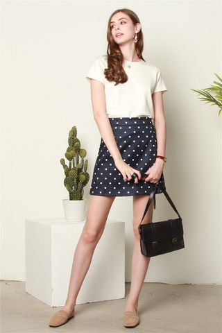 Polka Dot A-Line Skirt in Navy