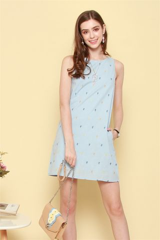 *BACK IN STOCK* Cactus Embroidery Trapeze Dress in Powder Blue