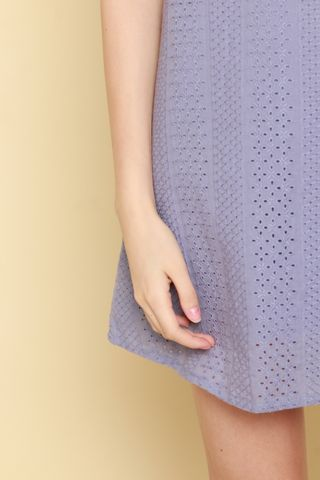 ACW Pastel Eyelet Trapeze Dress in Lavender