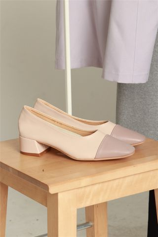 Colourblock Cap Heels in Lilac