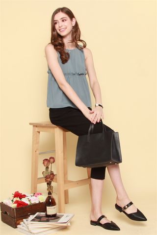 ACW Babydoll Frill Top in Ash Blue