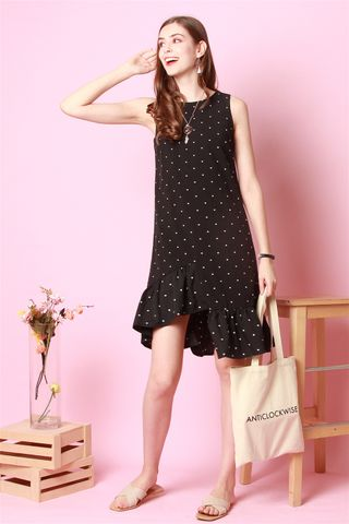 ACW Asymmetrical Tier Polka Dot Dress in Black