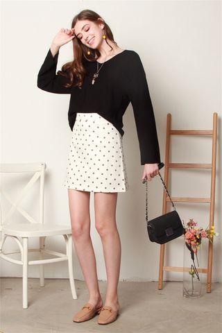 Polka Dot A-Line Skirt in White