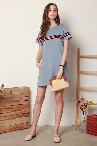 ACW Double Stripe Tee Dress in Ash Blue