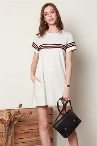 *BACK IN STOCK* ACW Double Stripe Tee Dress in Grey