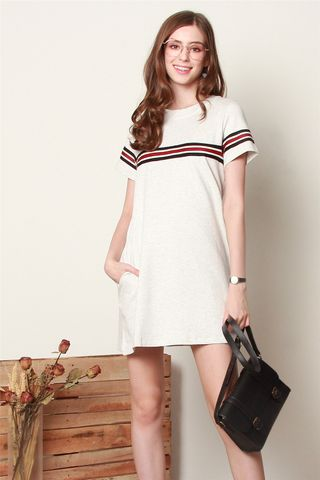 *Backorder 2* ACW Double Stripe Tee Dress in Grey