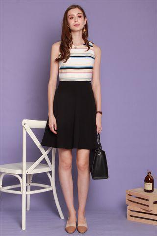 Stripe Colourblock Flare Dress in White