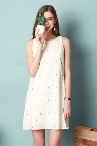 Cactus Embroidery Trapeze Dress in White