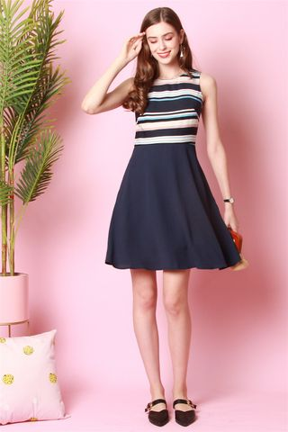 Stripe Colourblock Flare Dress in Navy