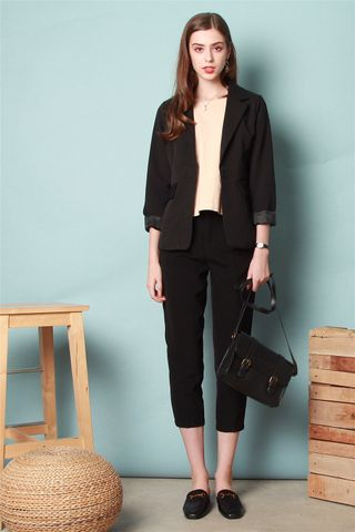 *BACK IN STOCK* Belted Pleat Pocket Work Pants in Black