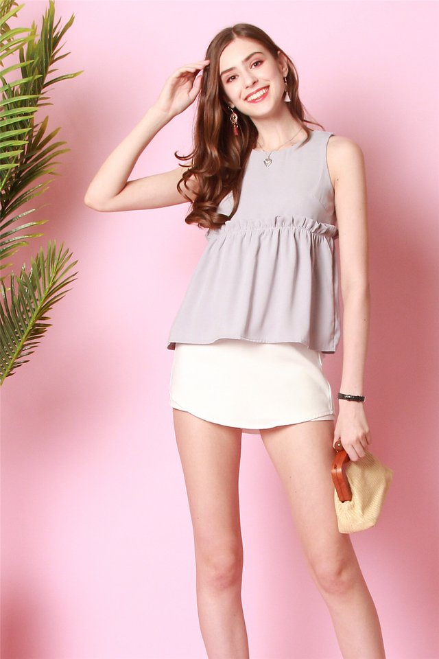 ACW Babydoll Frill Top in Dusty Grey