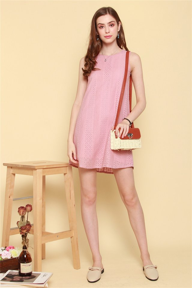 ACW Pastel Eyelet Trapeze Dress in Dusty Pink