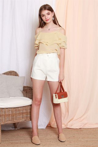 *BACK IN STOCK* High Waisted Belt Shorts in White