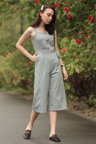 ACW Button Sash Jumpsuit in Ash Blue
