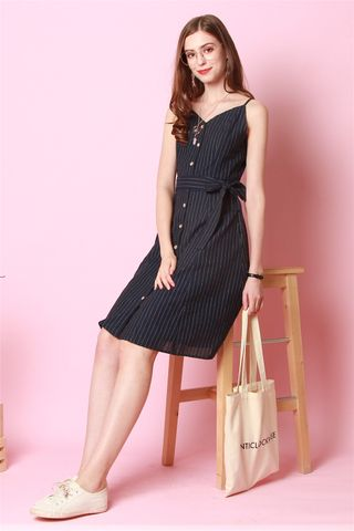 Pinstripe Button Down Midi Dress in Navy