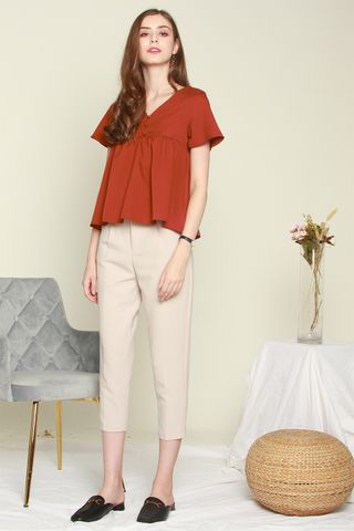 ACW Button Down Babydoll Top in Rust