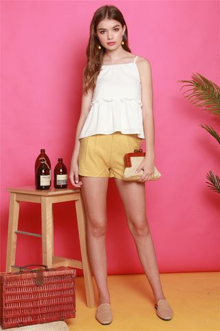 *Backorder* ACW Cut In Frill Top in White