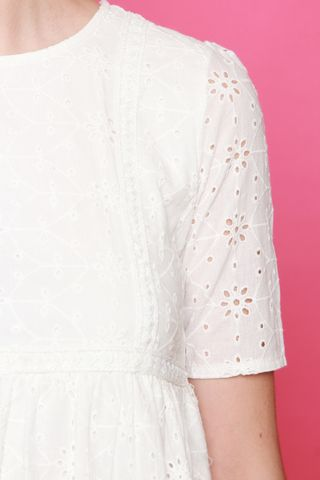 *BACK IN STOCK* ACW Floral Eyelet Babydoll Sleeved Dress in White