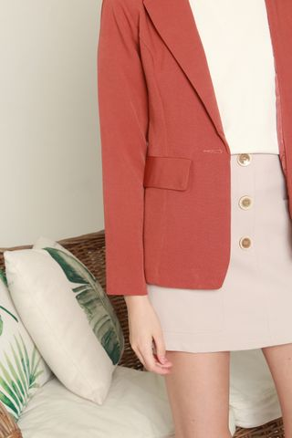 Structured Pocket Blazer in Terracotta
