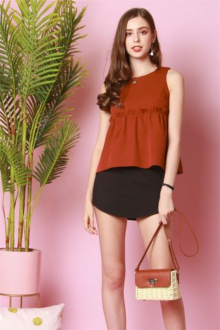 ACW Babydoll Frill Top in Rust
