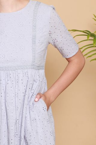 *BACK IN STOCK* ACW Floral Eyelet Babydoll Sleeved Dress in Lilac