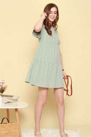 Babydoll Flutter Sleeve Eyelet Dress in Matcha