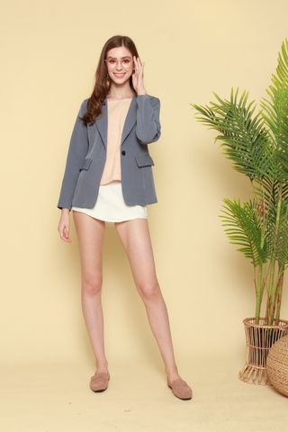 Structured Pocket Blazer in Ash Blue