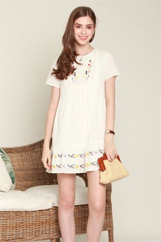 *BACK IN STOCK* ACW Botanic Embroidery Sleeve Babydoll Dress in White