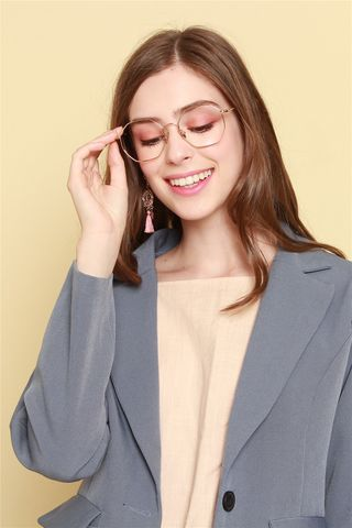 Hexagon Shaped Glasses in Rose Gold