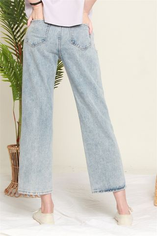 Straight Cut Acid Washed Denim Jeans