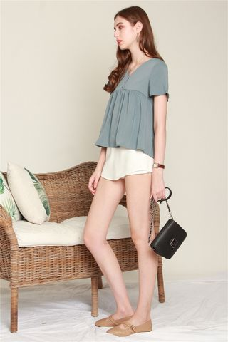 *BACK IN STOCK* ACW Button Down Babydoll Top in Ash Blue