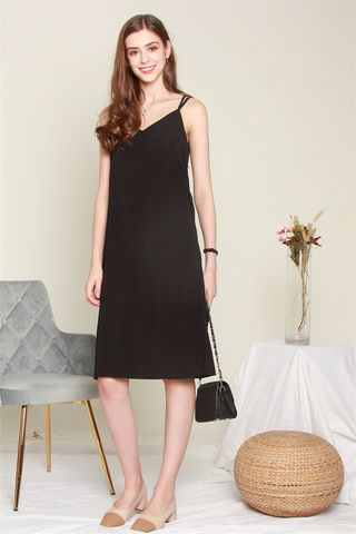 Cami Crossback Midi Dress in Black