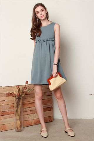 ACW Ruched Babydoll Romper Dress in Ash Blue