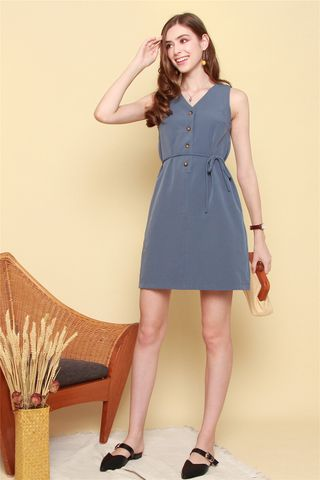 Button Down Sash Shift Dress in Ash Blue