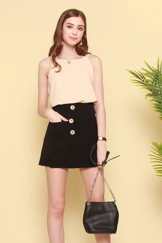 Button Panel Front Pocket Skirt in Black
