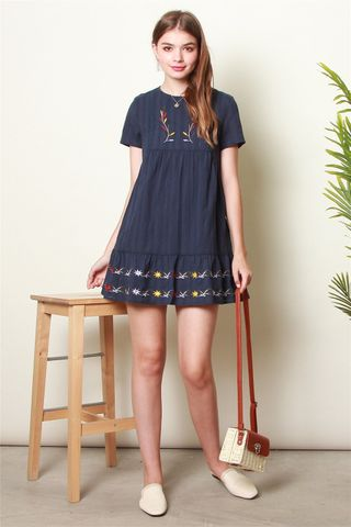 *BACK IN STOCK* ACW Botanic Embroidery Sleeve Babydoll Dress in Navy