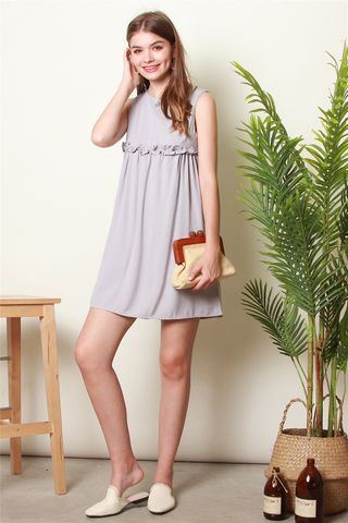 ACW Ruched Babydoll Romper Dress in Dusty Grey