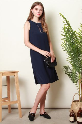 ACW Basic Slit Midi Dress in Navy