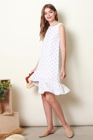 ACW Asymmetrical Tier Polka Dot Dress in White